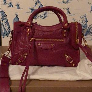 Balenciaga mini city bag in rose dahlia